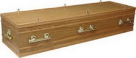 Veneered oak casket, ¾ continuous panel sides, ¾ on the lid with solid wood moulding