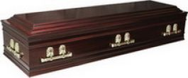 Veneered mahogany casket. ¾ continuous panel sides, double raised lid, with solid wood moulding in a rose wood tint