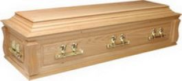 Superior solid oak casket (Canterbury), panel sides and panel ends, double raised lid with shaped corner posts