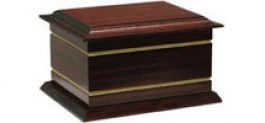 A. Solid mahogany gold inlay casket